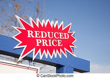 Red Reduced Price Burst Real Estate Sign.