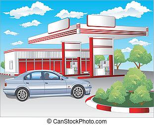 Red refuel station, BMW