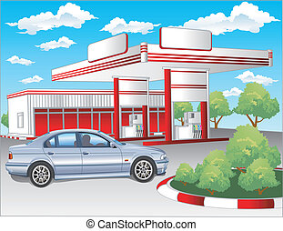 Red refuel station, BMW - Illustration of gas refuel station...