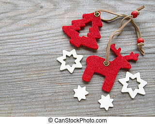 reindeer, Christmas tree and stars