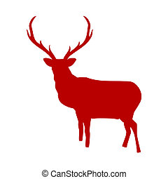 Red reindeer isolated on white background. EPS 8