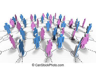 red, relación, comunidad, -