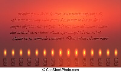 Red Religion Related Banner with Lighted Candles