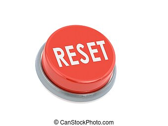 Red reset button - Rendered artwork with white background