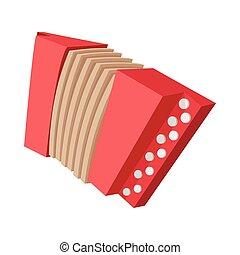 Red retro accordion cartoon icon