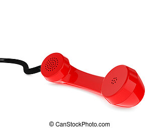 Red Retro Business Telephone Receiver on White Background