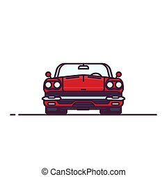 Red retro cabrio front view - Front view of red muscle sport...
