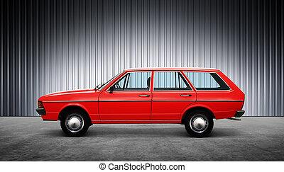 red retro car at hight