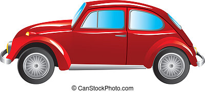 Red retro car isolated on white background