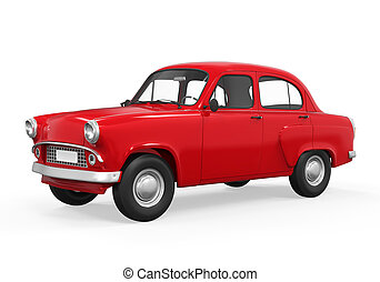 Red Retro Car Isolated