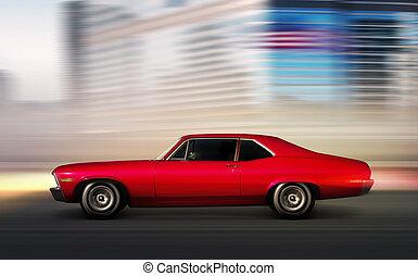 red retro car moving