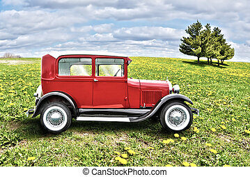 red retro car on a green field