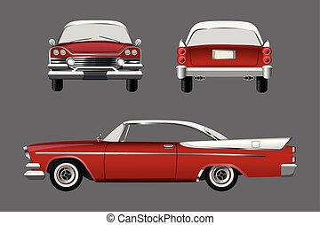 Red retro car on gray background.