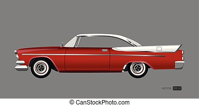 Red retro car on gray background