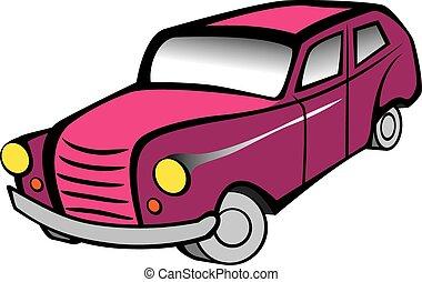 Red retro car vector illustration.