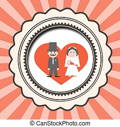 Red Retro Flat Design Wedding Card Vector Illustration with Groom and Bride in Heart