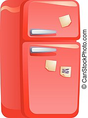 Red retro fridge icon, cartoon style