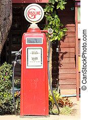 red retro gasoline pump