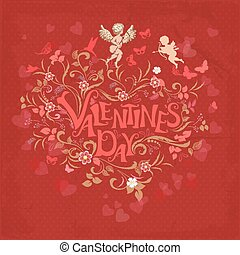 Red retro greeting card valentine day