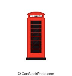 Red retro phone booth flat design vector illustration