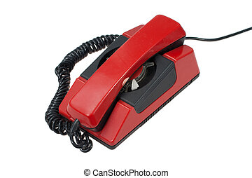 red retro phone isolated on a white background