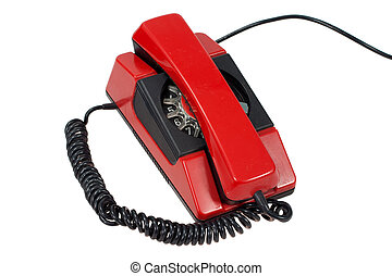 red retro phone isolated on a white