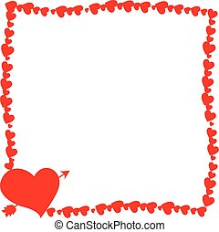 Red retro photo frame made of hearts with arrow pierced heart silhouette in corner.