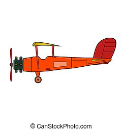 Red retro plane in cartoon style on white background.