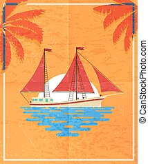 Red retro postcard with a sailboat in the sea, on a sunset/sunrise background. Vector illustration.