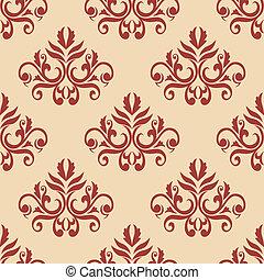 Red retro seamless pattern on beige backgrouund