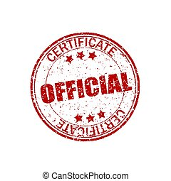 Red, retro shapes. Official certificate. Round rubber texture. Vintage stamp on white background. Circle grunge element for seal . Crack effect