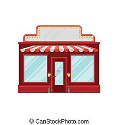Red retro store facade, front view of city building cartoon vector Illustration