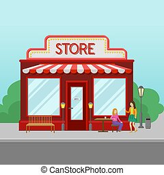 Red retro store facade, front view of city building, summer landscape vector illustration
