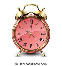 Red retro style alarm clock.