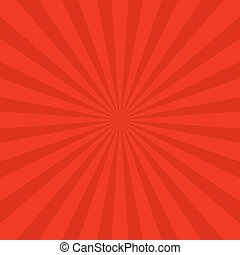 Red retro sun ray background - vector graphic design with...
