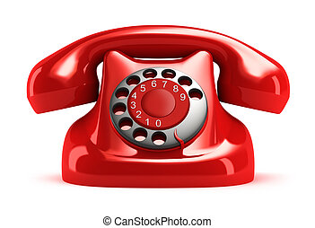 Red retro telephone, front view. Isolated. My own design