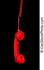 red retro telephone receiver - Dangling red retro telephone...