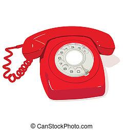 Red retro telephone - Red vintage telephone illustration