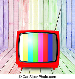 Red retro tv with wooden room