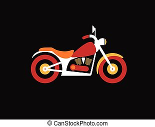 Red retro vintage motorcycle icon isolated on dark background