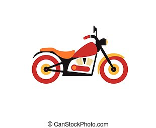 Red retro vintage motorcycle icon isolated on white background