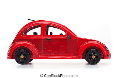 Red retro wooden toy car isolated on white background