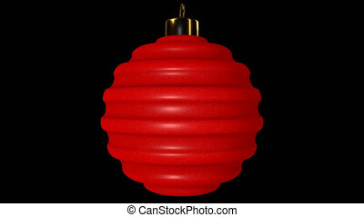 Red Ribbed Spinning Christmas Ball