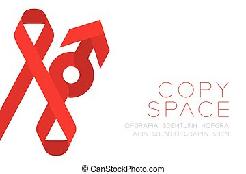 Red ribbon AIDS, HIV and male sign icon flat color design illustration isolated on white background, with copy space