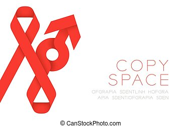 Red ribbon AIDS, HIV and male sign icon illustration isolated on white background, with copy space