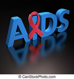 Red Ribbon AIDS - Red ribbon, symbol of a commitment to the...