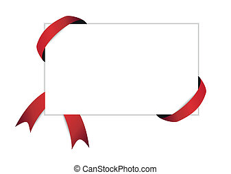 red ribbon and blank white paper with shadow