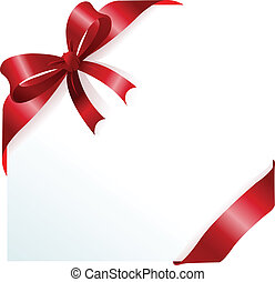 Red ribbon and bow - Page corner with red ribbon and bow. ...
