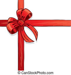 Red ribbon and bow vector illustration