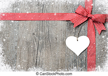 Red ribbon and bow with heart
